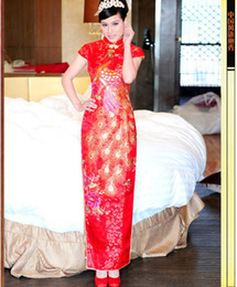 Wholesale Chinese Dresses Cheongsam red lace sequins new arrivel high quality