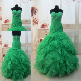 2016 Puffy Quinceanera Dresses Green Sweetheart Beading Organza Mermaid Long Ball Gown Prom Dress 2016