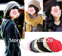 Wholesale 2012 New Fashion Women s Braided Crochet Beret Hat Lady s Knitted Cap colors Pick