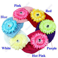 Wholesale 5pcs Hand Crochet Baby Flower Hat Spring Knitted Girls Flower Cap Kids Infant Beanie