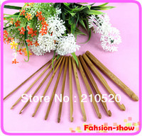 Wholesale freeshipping New Carbonize Bamboo Crochet Hooks Knitting Needles Weave Craft mm