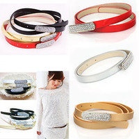 Wholesale 6PCS Jewelry Stylish Golden Crystal Rhinestone Shiny PU Leather Waistband Belt