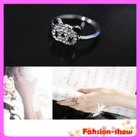 Wholesale 20 Korean Fashion Lovely Cute Shining Full Rhinestone Panda Head Adjustable Ring