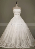 Wholesale Empress Strapless Ball Wedding Dress Crystal Cathedral Train Lace Appliques Bridal Gowns DZ071