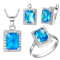 Wholesale Free shiping Blue Austrian Crystal Pendant amp Earrings amp Ring with platinum plated Jewelry set T008