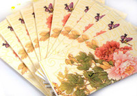 Wholesale Pink And Red Chrysanthemum Napkins Tissue Sheets For Wedding Decoration Pary Gifts Favors