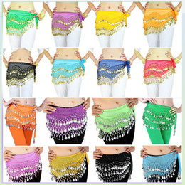 Wholesale 12 Colors Rows Gold or silver Coins Belly Egypt Dance Hip Skirt Scarf Wrap Belt Costume