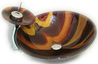 beautiful glass paintings - Beautiful and Luxury Hand Painted Washbasin Tempered Glass Basin Sink With Brass Faucet GS