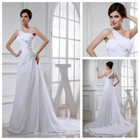 Model Pictures Sleeveless Halter One Shoulder White Model Real Picture Cheap Wedding Gowns 2013 Chiffon Wedding Dresses