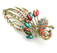 Wholesale Bohemian rhinestone Peacock Duck Clip Banana Clips Hair Barrette Hairpin mix color pc
