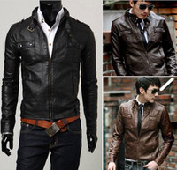 Men Leather_Like Waist_Length Hot sale Men's Slim Sexy leather Four pockets Motorcycle Jacket Coat Black Size:M L XL XXL