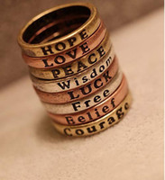 Band Rings Mexican Unisex HOPE LOVE LUCK PEACE Free Belief Wisdom Courage Ring set#6069