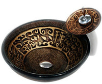 Wholesale Classic Hand Painted Washbasin Tempered Glass Basin Sink With Brass constrction Faucet GS