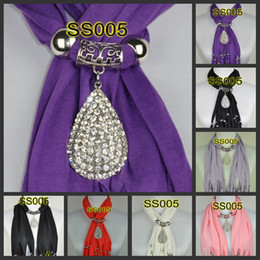 Wholesale pendants scarf jewelry necklaces fringed beads jewellery scarves charms waterdrop DHLFree SS005