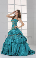 Wholesale 2013 Dhgate Hot Sale Sexy Sweetheart Pleat Satin Ruffles Gold Beaded Ball Gown Prom Dresses DH00315