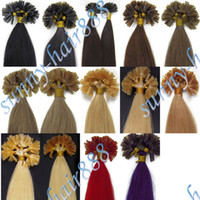 Wholesale 16 quot Pre Bonded Nail Tip Remy Human Hair Extensions Choose Colour Grade AAA
