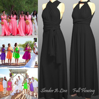 Wholesale Custom Made The Long FREE STYLE Dress convertible dress Chiffon Fabric Bridesmaid Dress Party Gown