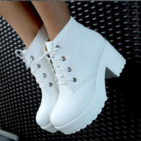 Wholesale Locomotive Boots Platform Shoes Short Boots Women Chunky Heel Ankle Boots Knight Boots White Black