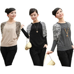 Wholesale Hot New Autum Winter Leopard Mercerized Cotton Loose Batwing Knitting sweater
