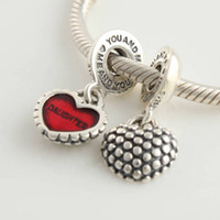 Wholesale Authentic Sterling Silver Piece of My Heart Mother amp Daughter Dangle Bead with Red Enamel Fits European Pandora Charm Bracelet