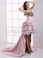 Wholesale 2013 Dhgate Hot Sale Sexy Strapless Leopard Pink Taffeta Hi Lo Ruffle Flowers Prom Dresses DH003703