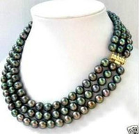 Wholesale 3 row AAA TAHITIAN MM Black Pearl Necklace quot quot