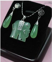 Earrings & Necklace Jade Sterling Silver Noblest green jade silver fortune elephant pendant earring