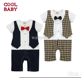 Wholesale cool baby onesies boys short sleeve rompers check gentleman jumping Wa