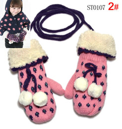Wholesale children gloves girls birds snowflake with white ball wool kids warm gloves colors pairs
