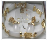 Others Celtic Women's Wholesale Cheap white jade Elephant pendant bracelet earring set