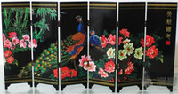 Wholesale CHINESE HANDWORK PAINTING PEAFOWL FLOWER LACQUER SCREEN