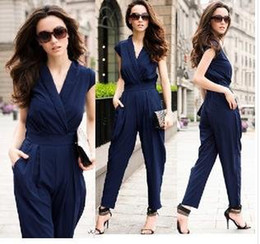 Wholesale Slim Women Fashion Romper long Jumpsuit Scoop Colors black red deep blue