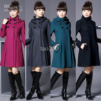Wholesale women outerwear coat Women s jacket Fashion Wool Cashmere Winter Noble Long TRENCH Coat Color size HOT SELL