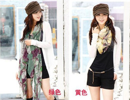 Wholesale Hot sale Fashion Classic Begonia flowers Pattern Scarf velvet chiffon shawl scarves