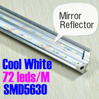 Cool White Color advertisement mirror - DHL EMS Leds M pc Cool White Aluminum Rigid Led strip Bar Light SMD5630 with Mirror Reflector Profile Slot