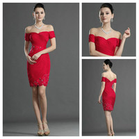 Wholesale Glamor and Shine Red Chiffon Sweetheart Lace and Beaded Sheath Short Modest Prom Dresses