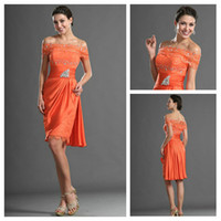 Chic Bateall Lace and Beaded Oange Chiffon Sheath Knee- lengt...