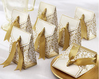 Wholesale 2012 Hot Sale100 Gorgeous Gold Ribbon Wedding Party Candy Box Personality and Gift Boxes