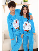 Wholesale Hot Sale Fall And Winter Coral Fleece Couple Pajamas Suit Lovely Men And Women Leisure Wear