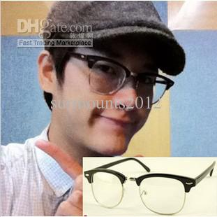 Nice Half Frame Glasses : Rivet Half Frame Plain Glasses Women Men Glass Cool ...