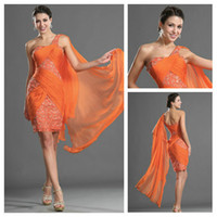Flowing Orange Red Chiffon One- shoulder Lace and Beaded Shea...