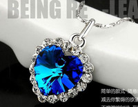 Wholesale 12pcs mixed colors cm shining Crystal Titanic Ocean Heart pendant silver PLATINUM P necklace