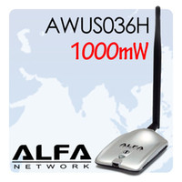 al por mayor alfa network-1000mW Alfa AWUS036H red USB Wireless G adaptador WiFi Antena 5dBi RTL8187L envío gratuito