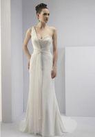 Castle Autumn/Spring Sexy 2013 Sheath One Shoulder Grecian Style Roughed Waist Asymmetrical Draped Wedding Dresses V2139s