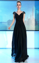 Wholesale Chiffon V neck Beaded A line Elgant Sexy Prom Dresses Evening Dresses e60