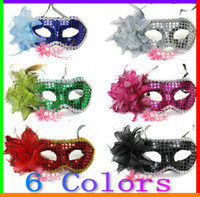 Wholesale 10pcs Women s Coloured Drawing Sequin Flowers Mask Carnival Halloween Masquerade Dance Party masks