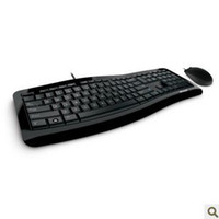 Wholesale Original authenticMicrosoft wired Comfortable curve desktop keyboard mouse set Colored taste