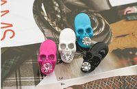 Men's crystal diamond skull - Christmas skull inlay diamond rhinestone silvering silver stud earrings