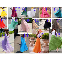 Wholesale 16 Colors New Hot Fashion Women Chiffon Skirt Casual Dress Sexy Long Skirt Club Party Dress Ladies Summer Skirts Girls Dress Skirts