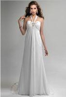 black tapioca pearls - Elegant A Line Halter Tapioca Pearl Pleats Applique Court Train TiesChiffon Wedding Dresses V9952PA